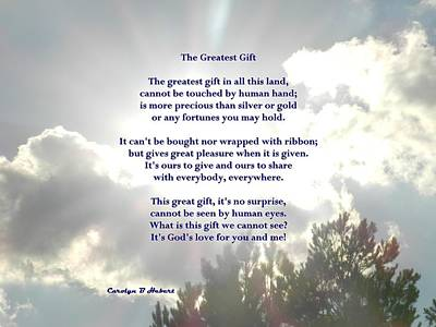 Wall Art - Photograph - Greatest Gift - God's Love For You And Me by Carolyn Hebert