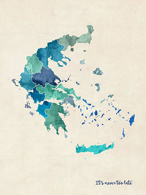 Digital Art - Greece Watercolor Map Custom Text by Michael Tompsett