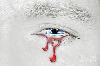 Photograph - Greek Bloody Crying Eye by Benny Marty