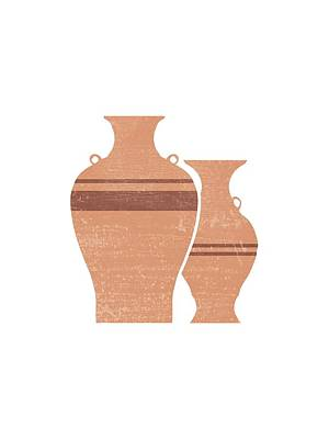 Mixed Media Royalty Free Images - Greek Pottery 22 - Hydria - Terracotta Series - Modern, Contemporary, Minimal Abstract - Light Brown Royalty-Free Image by Studio Grafiikka