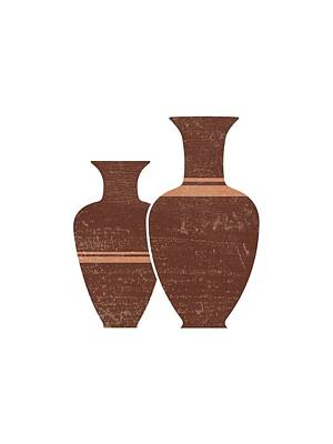 Mixed Media Rights Managed Images - Greek Pottery 23 - Hydria - Terracotta Series - Modern, Contemporary, Minimal Abstract - Burnt Umber Royalty-Free Image by Studio Grafiikka