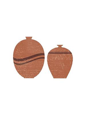 Mixed Media Rights Managed Images - Greek Pottery 27 - Aryballos - Terracotta Series - Modern, Contemporary, Minimal Abstract - Brown Royalty-Free Image by Studio Grafiikka