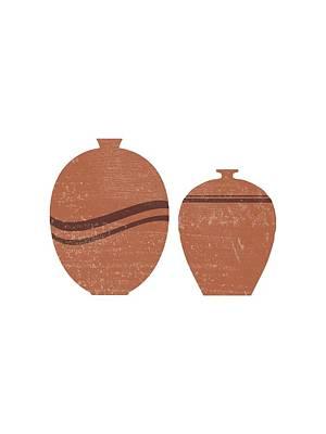 Mixed Media Royalty Free Images - Greek Pottery 27 - Aryballos - Terracotta Series - Modern, Contemporary, Minimal Abstract - Brown Royalty-Free Image by Studio Grafiikka