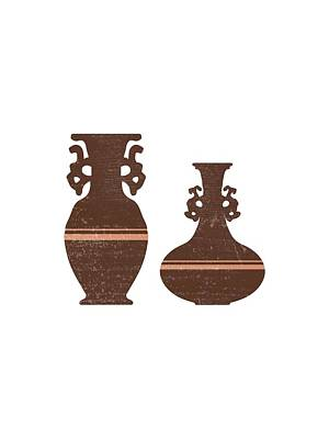 Mixed Media Rights Managed Images - Greek Pottery 29 - Clay Vases - Terracotta Series - Modern, Contemporary, Minimal Abstract - Auburn Royalty-Free Image by Studio Grafiikka