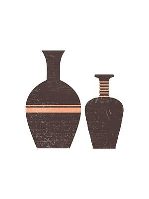Mixed Media Rights Managed Images - Greek Pottery 31 - Hydria - Terracotta Series - Modern, Contemporary, Minimal Abstract - Seal Brown Royalty-Free Image by Studio Grafiikka