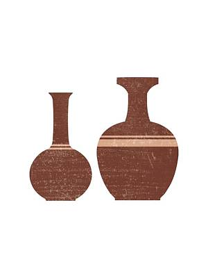 Mixed Media Rights Managed Images - Greek Pottery 32 - Hydria - Terracotta Series - Modern, Contemporary, Minimal Abstract - Burnt Umber Royalty-Free Image by Studio Grafiikka