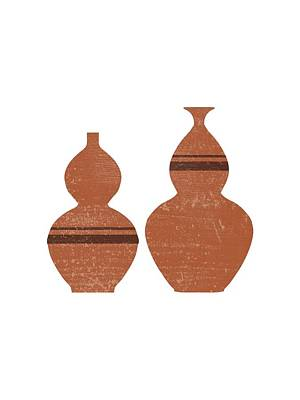 Mixed Media Royalty Free Images - Greek Pottery 33 - Double Bubble Vase - Terracotta Series - Modern, Contemporary, Minimal Abstract Royalty-Free Image by Studio Grafiikka