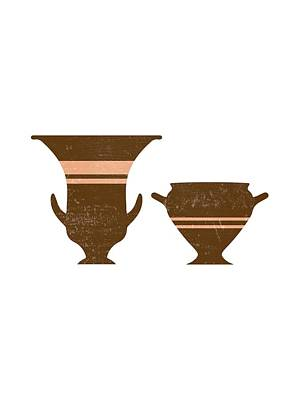 Mixed Media Royalty Free Images - Greek Pottery 36 - Bell Krater - Terracotta Series - Modern, Contemporary, Minimal Abstract - Auburn Royalty-Free Image by Studio Grafiikka
