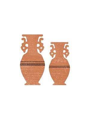 Mixed Media Royalty Free Images - Greek Pottery 37 - Amphorae - Terracotta Series - Modern, Contemporary, Minimal Abstract - Sienna Royalty-Free Image by Studio Grafiikka