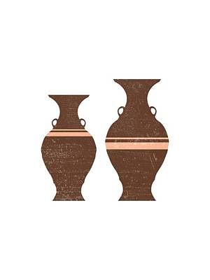 Mixed Media Royalty Free Images - Greek Pottery 38 - Hydria - Terracotta Series - Modern, Contemporary, Minimal Abstract - Auburn Royalty-Free Image by Studio Grafiikka
