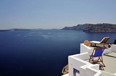 Lounge Chair Photograph - Greek Sunbeds by Oversnap