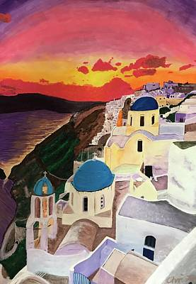 Sunset Painting - Greek Sunset by Christo Botha
