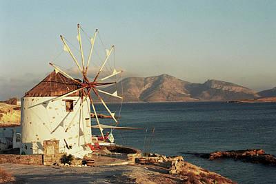 Photograph - Greek, Windmill, Landscape by Deimagine
