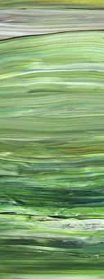 Painting - Green Abstract Meditative Brush Strokes I by Irina Sztukowski