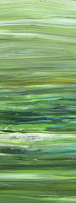 Painting - Green Abstract Meditative Brush Strokes II by Irina Sztukowski