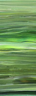 Abstract Royalty-Free and Rights-Managed Images - Green Abstract Meditative Brush Strokes III by Irina Sztukowski