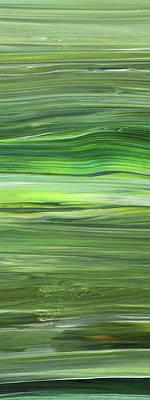 Painting Royalty Free Images - Green Abstract Meditative Brush Strokes III Royalty-Free Image by Irina Sztukowski