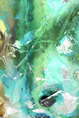 Painting - Green And Blue Abstract - Making Amends - Sharon Cummigns by Sharon Cummings