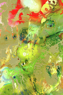 Painting - Green And Red Abstract Art - Intuitive Voice - Sharon Cummings by Sharon Cummings