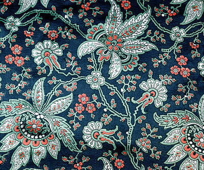 Painting - Green And Red Floral Design On Blue by Superstock