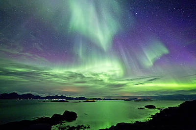 Purple Sea Stars Wall Art - Photograph - Green And Violet Sky by By Frank Olsen, Norway