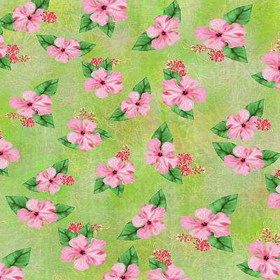 Digital Art - Green Batik Tropical Multi-foral Print by Sand And Chi