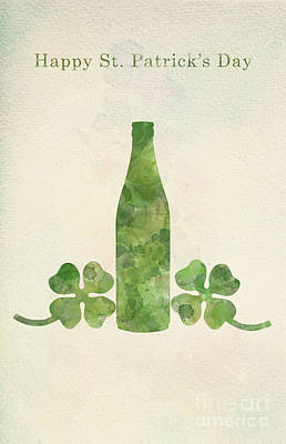 Photograph - Green Beer Bottle And Four-leaf Clovers In Watercolor Painting. by Michal Bednarek