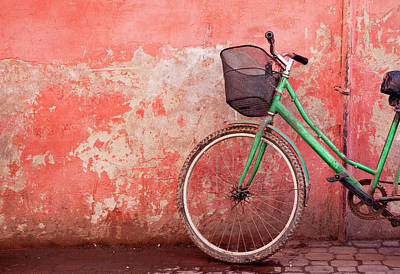 Photograph - Green Bike On Pink Wall by Borja Alcazar Photo
