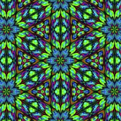 Digital Art - Green Blue Triangle Kaleidoscope by Cindy Boyd