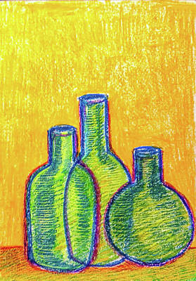 Still Life Drawings - Green bottles by Asha Sudhaker Shenoy