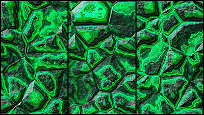 Food And Flowers Still Life - Green Colored Stone Triptych by Don Northup