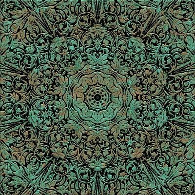 Digital Art - Green Copper Floral Kaleidoscope by Cindy Boyd