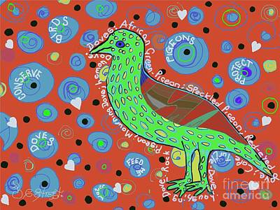 Digital Art - Green Dove by Caroline Street