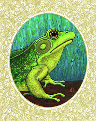 Painting - Green Frog Portrait - Cream Border by Amy E Fraser