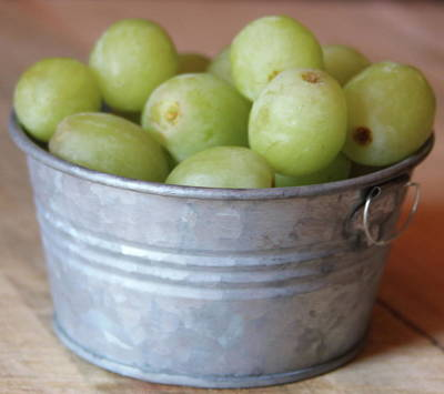 Kids Alphabet - Green Grapes In Metal Tub by Cathy Lindsey