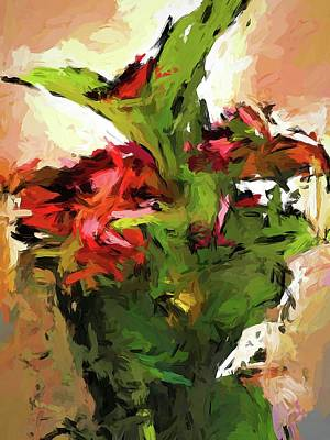 Painting - Green Leaves And The Red Flower by Jackie VanO