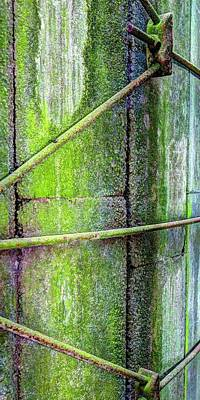 Jerry Sodorff Royalty-Free and Rights-Managed Images - Green Lichen Silo Side by Jerry Sodorff