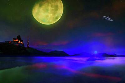 Digital Art - Green Moon Planet 1 by Don White Artdreamer