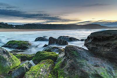Photograph - Green Moss Rocks Seascape by Merrillie Redden