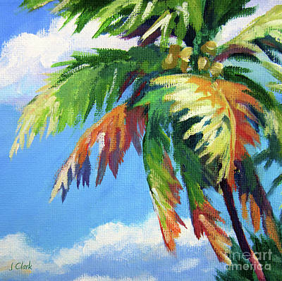 Naples Beach Wall Art - Painting - Green Palm  by John Clark