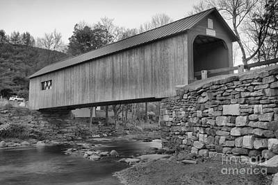 Photograph - Green River Historic Covered Bridge Black And White by Adam Jewell