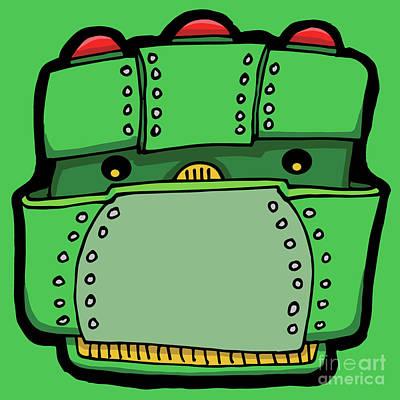 Digital Art - Green Robot Head 03 by Sean McMenemy