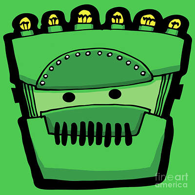 Digital Art - Green Robot Head 7 by Sean McMenemy