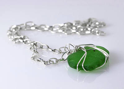 Modern Kitchen - Green sea glass necklace by Cordia Murphy