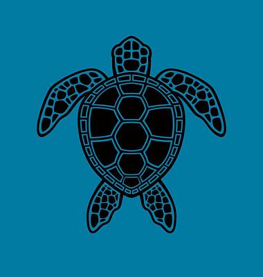 Royalty-Free and Rights-Managed Images - Green Sea Turtle Design - Black by John Schwegel