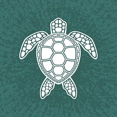 Royalty-Free and Rights-Managed Images - Green Sea Turtle Design - White by John Schwegel