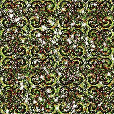 Digital Art - Green Sparkle Swirl by Cindy Boyd