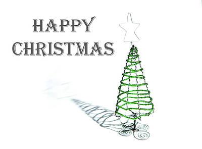Photograph - Green Tree - Happy Christmas by Helen Northcott
