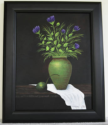 Painting - Green Vase Purple Flowers by Gloria Johnson