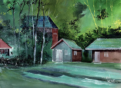 Painting - Green Village by Anil Nene